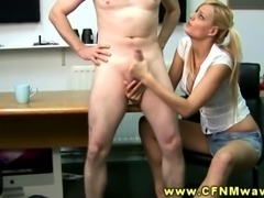 Blonde CFNM babe jerks and cups balls