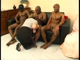 A French mature named Lou gang banged by a black cocks