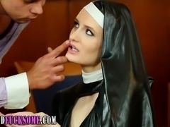 Glam latex nun gets cum and rubs it on group fucked sluts