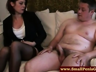 SPH session for useless guy and his disgraceful small cock