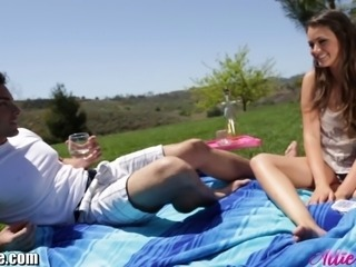 Sexy Allie Haze is having a picknick with her best friend Ryan. She spills wine on him on purpose to fuck him!