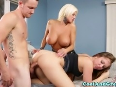 Teen babe doggystyle fucked as she eats pussy of busty blonde milf