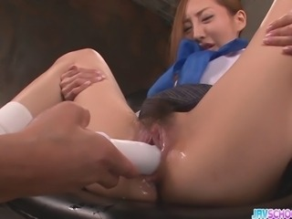 Aihara Erena is in a sailor type high school uniform. This cute girl who looks like a well-known Japanese idol gets her pussy worked by a magic wand vibrator. Egg vibrator gives a buzz to the clit and a thick stick vibrator plunges into her pretty twat. Dick pumps cum into her mouth.