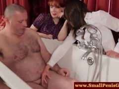 Dom mistresses shocked at his small cock and attempt to tug on it