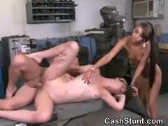 Brunette amateur girl getting fucked and taking facial on a car lift during...