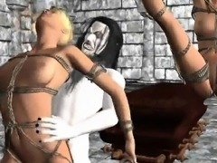 Tied up 3D blonde babe getting fucked by a vampire