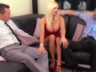 Dirty blonde housewife fucks two hunky strangers in all her holes