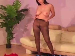 Nylons loving babe flashing her tits