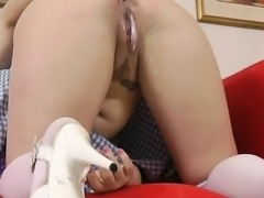 Stocking teen babe handjob and fuck