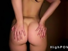 Hot brunette gets huge tits and pussy fucked POV