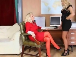 Lesbian office girls lick pussy and cum with sex toys on office desk