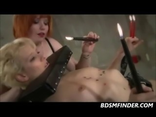 Big tit redhead hot waxes her bound blonde submissive