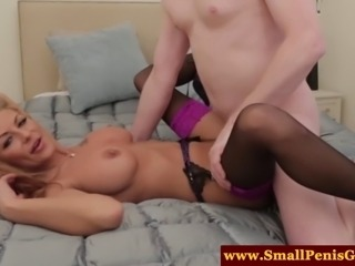 Dom mistress fucks and sucks his tiny pole out of pity