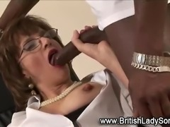 Mature brit sucks dick and gets licked in interracial threesome