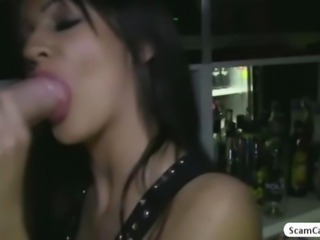 Stunning brunette pounded by stranger in a bar