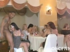 Sexy steamy hot bachelorette part with young horny babes sucking on the...