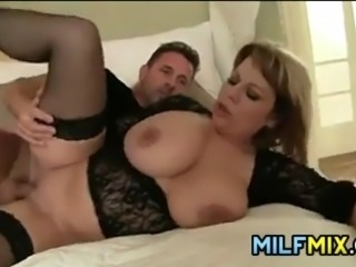 Horny MILF with great tits and some meat on her getting pounded