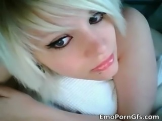 Sexy blonde EMO hoe shows herself free