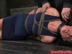 Tied up hot mature sub fingered on floor in this hd video