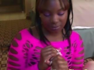 Plump ebony babes POV handjob
