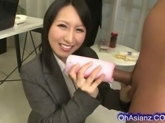 Pertty asian business woman makes a hard swollen cock cum hard in her soft...