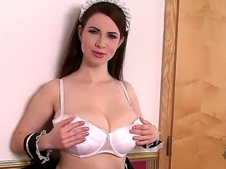 Young adorable housemaid brunette Karina Heart with nice curvy body in white...