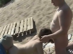Public sex show by swingers at beach