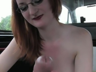 Busty redhead amateur fucked in the backseat of a cab