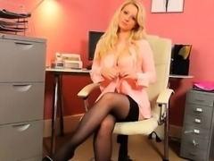 fairhair secretary in stockings teasing