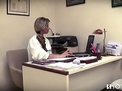 Petite blonde dentists fucking her client wild