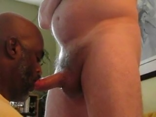 Black Dad Sucking Thick White Cock