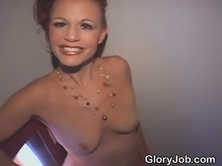 Weathered and aging red headed Vegas show girl sucking strangers dick at glory hole
