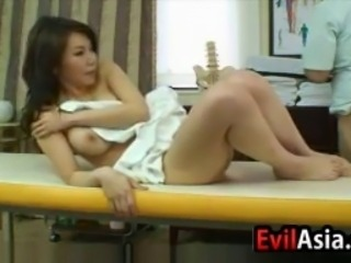 Beautiful Japanese woman gets rubbed down and pounded