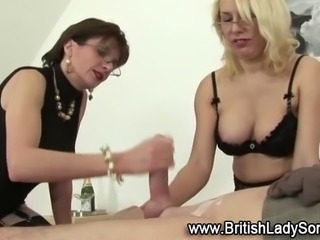 Femdom babes make guy cum twice with handjob