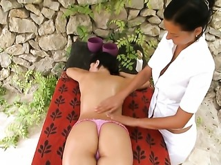 Lily with juicy knockers and shaved muff getting satisfaction with lesbian Adria