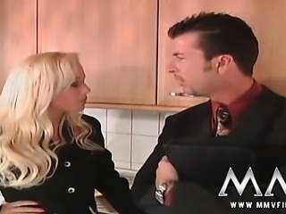 Horny blonde slut ravaged on the kitchen counter