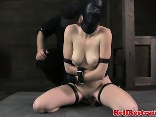 Sensorial deprived submissive begging as she gets flogged