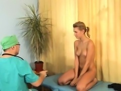 Shy blonde teen and horny gynecologist