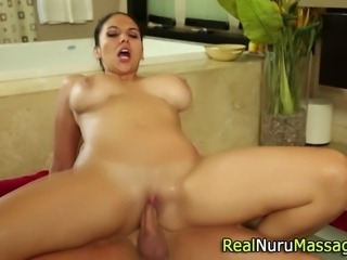 Sexy babe sucking cock and fucking after nuru massage in hd