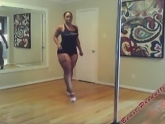 Thick bottomed stripper practicing at home