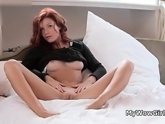 Nasty redhead gets horny when show