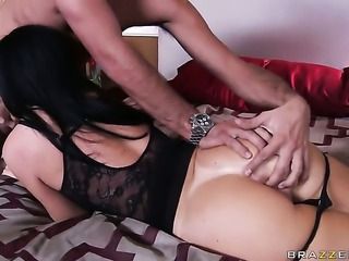 India Summer with small boobs is out of control with Keiran Lees pulsating worm in her mouth