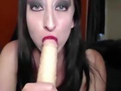 Busty canadian brunette Mena masturbates