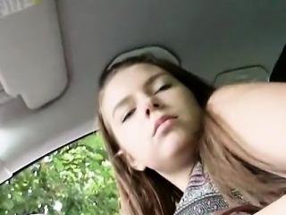 Stranded busty Russian teen fucked and jizzed on in public