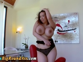 Busty asian booty assed stunner tit fucked after tugging cock