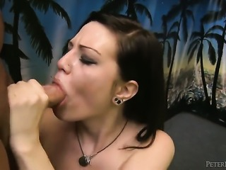 Glamorous minx Alissa Belle gets satisfaction with guys love stick in her eager mouth