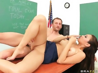 Mark Ashley admires sex starved Miko Lees body before she takes his ram rod in her pussy