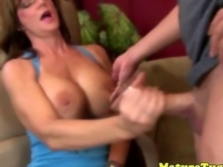 Spex mature tugging hard cock
