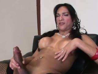Latina shemale idol Jo Garcia jerks off