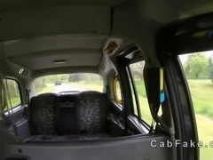 Brunette sucking huge dick and fucking it in fake taxi